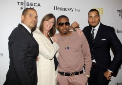 Photo of One9, Jane Rosenthal, Nas and Erik Parker on red carpet at Tribecca Film Festival.
